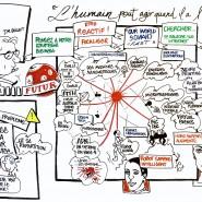 """Capture en temps réel lors d'une intervention de J.M. Billaut sur l'innovation technologique. 4x2m. Auteur: viviana gozzi copyright - par <a href=""""http://www.fgcp.net/Viviana Gozzi"""">Viviana  Gozzi</a>"""