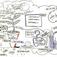 """Facilitation graphique de la table ronde """"Au-delà de l'Agilité, la culture"""", conférence Agile Tour Toulouse, 2013 par @RomainCouturier, www.terredagile.com"""