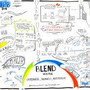 Enregistrement graphique en fresque de la journée 1 du BlendWebMix 2014 par @RomainCouturier, www.terredagile.com