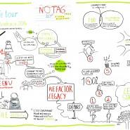 Enregistrement graphique en fresque de la conférence Agile Tour Bordeaux 2014 par @RomainCouturier, www.terredagile.com
