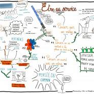 """Scribing conférence Noetic Bees interne """"Etre au service de ..."""" , 2016, par @RomainCouturier, www.terredagile.com"""
